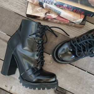 JEFFREY CAMPBELL Legion Lug Lace Up Heeled Boots